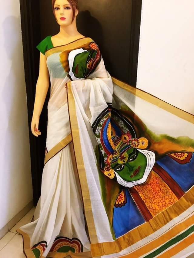 Pj Kathakali Design Hand Painted Kerala Cotton Saree Kcadi020