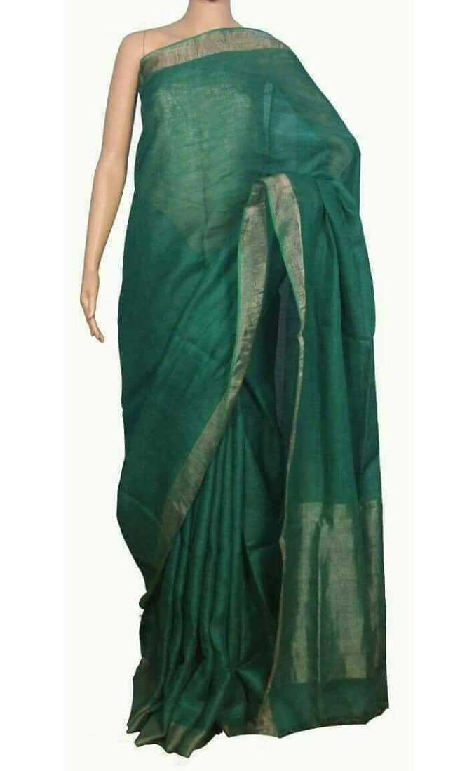 Green Pure Handloom Linen Saree For Online Shopping Pjsp17a029