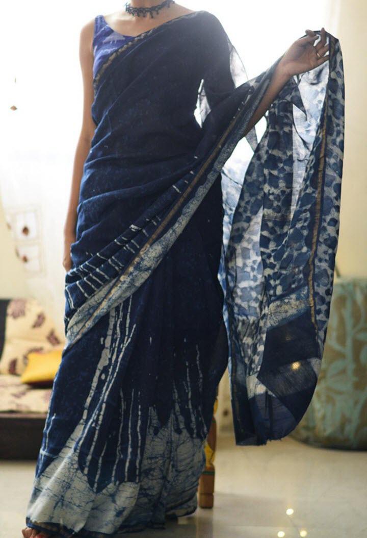 Natural Indigo Dye Pure Cotton Saree Online Shopping Mjhp17n04
