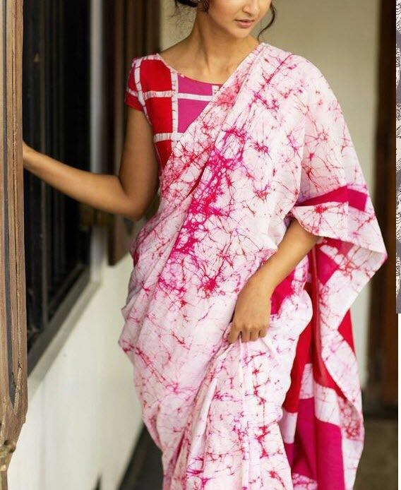 Pink Hand Batik Pure Cotton Saree For Online Shoping