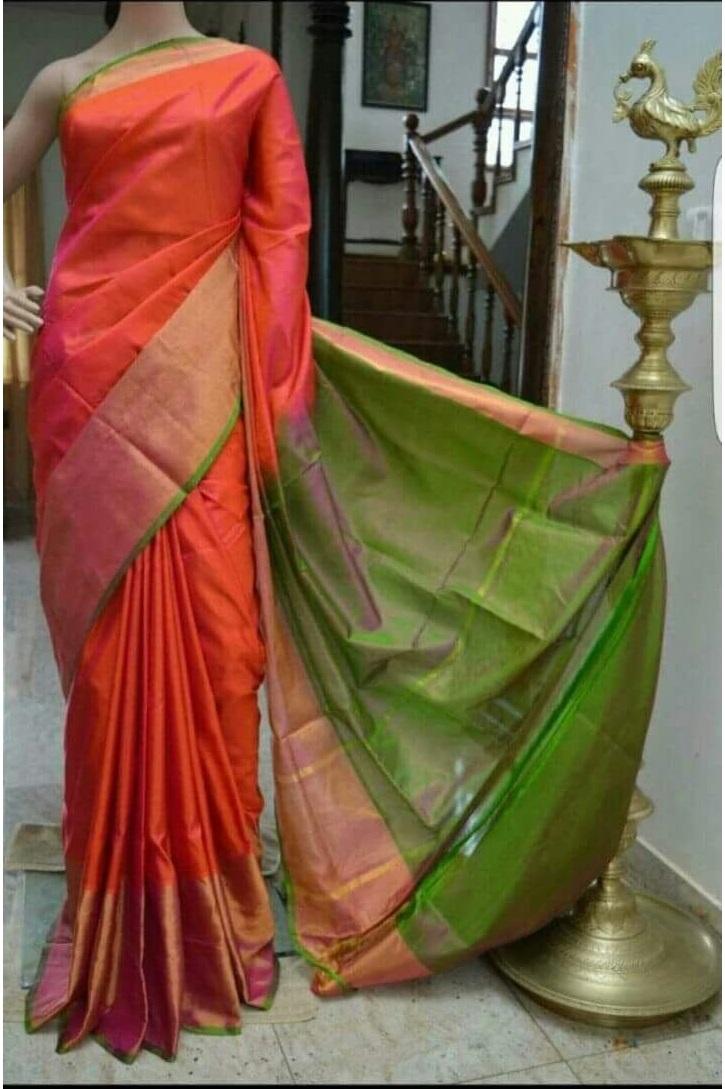 Red Green Pure Handloom Uppada Silk Saree For Online