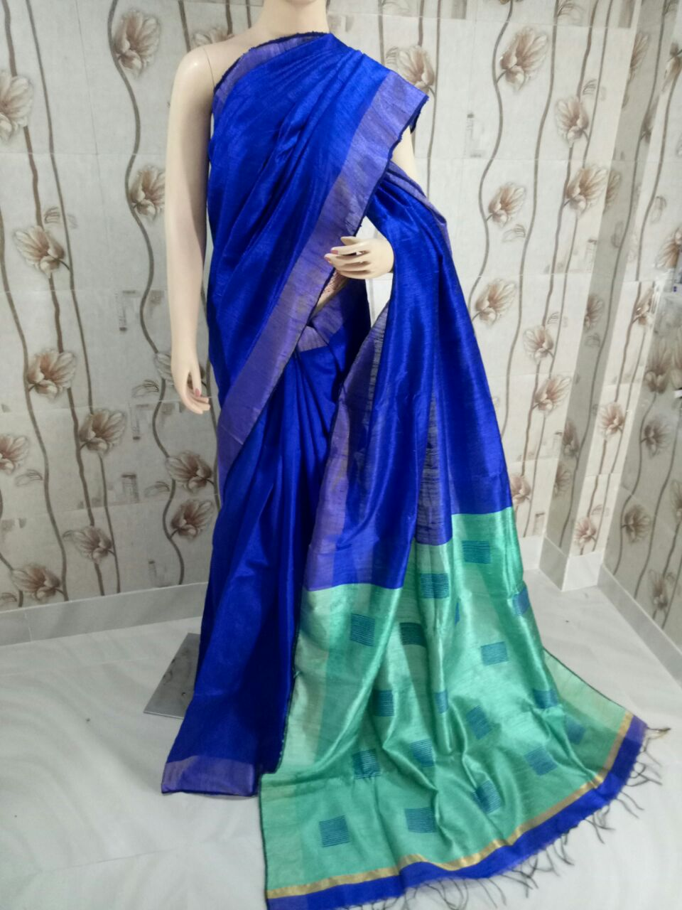 c5a359b6f220ee Ink Blue Pure Handloom Dupion Raw Silk Saree for Online Shopping ...