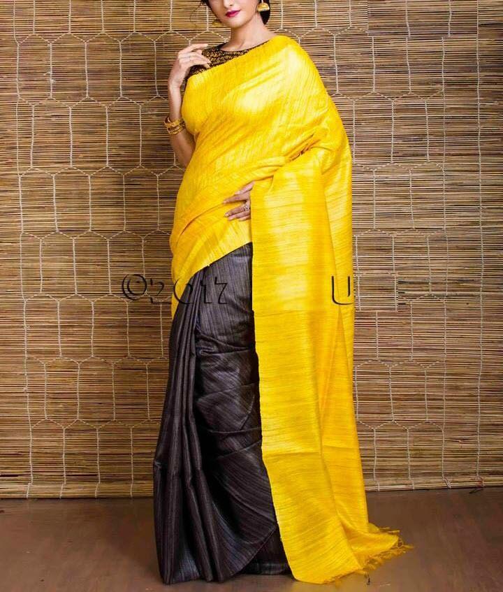 6e7e58535a Yellow Black Pure Handloom Tussar Ghicha Silk Saree for Online ...