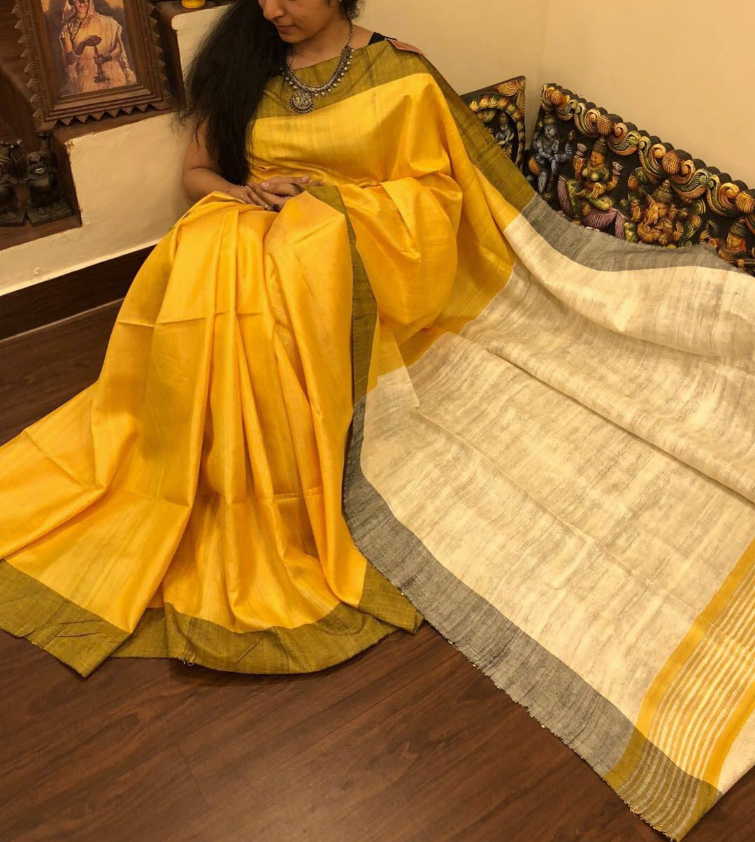 40b28020fbebdc Yellow Pure Handloom Tussar Ghicha Silk Saree for Online Shopping ...