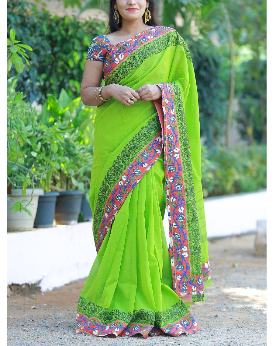 ebebabba0d14b ... PJMW18F09 Parrot Green Handloom Chettinadu cotton saree with kalamkari  patch work. Sale. products