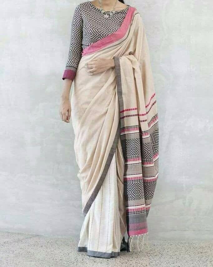 439ba3bc33 Cream Pure Handloom Bengal Soft Cotton Saree for online shopping ...