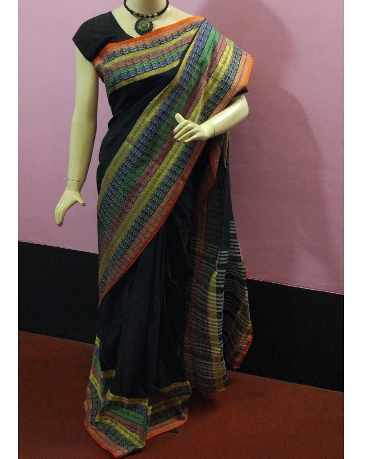 cd1bb38ae0 Quick Overview. Condition: New. Brand: Handloom Collections. Description:  Saree: Black Fish Motif Pure Handloom Bengal Soft Cotton Saree