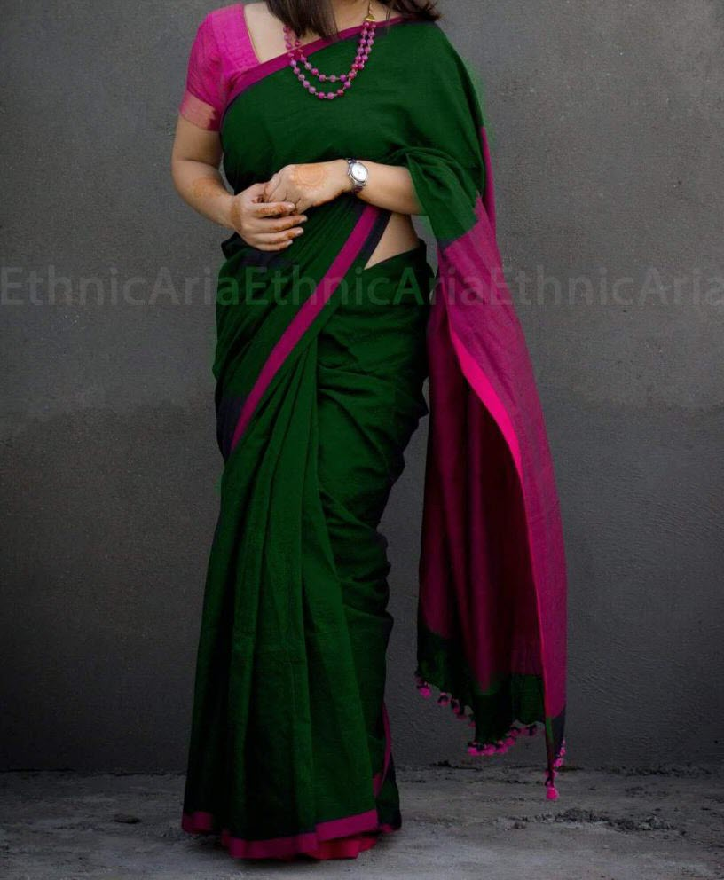 9c4a890f7a Green Pure Handloom Bengal Soft Cotton Saree for online shopping ...