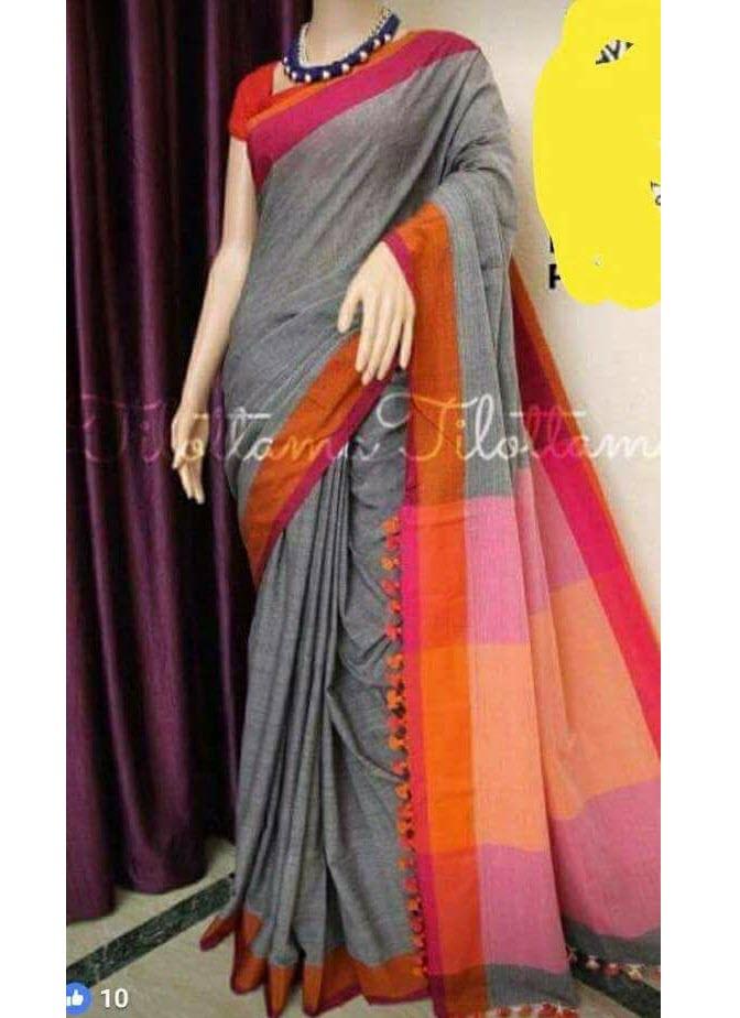 eeb3d9af65 Quick Overview. Condition: New. Brand: Handloom Collections. Description:  Saree: Grey Pure Handloom Bengal Soft Cotton Saree