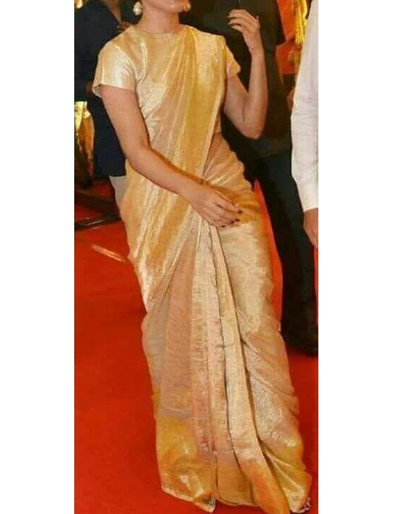 646e783dc84a9 Cream Gold Pure Handloom Uppada Tissue Silk Saree for Online ...