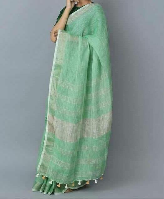 Green Pure Handloom Linen Saree For Online Shopping Pjap18a023