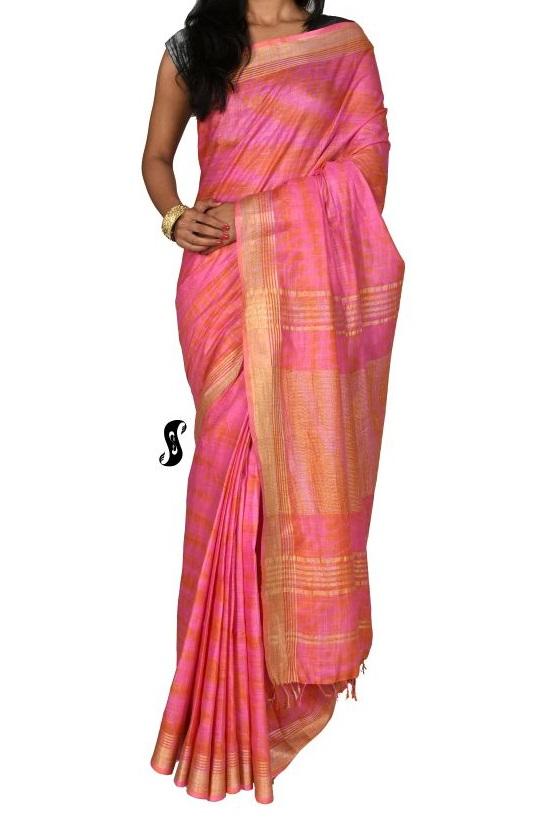 Rose Pure Handloom Linen Shibori Saree For Online Shopping