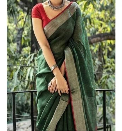 Linen silk Saree Free Shipping Saree with Running Blouse Indian Clothing Pure Linen Handloom Sarees Linen Organic Sari Linen Handmade Saree